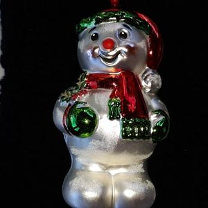 Vintage Glass Ornament-Snowman Columbia on cap